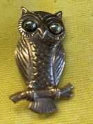 """Vintage Solid Copper Bell Trading Company Owl On Branch Brooch Pin 1.5"""""""