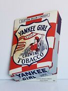 Vintage Yankee Girl Chewing Tobacco Counter Display Stand Up Sign Cardboard