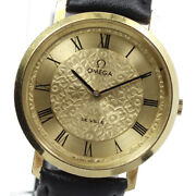 Wrist Watch Omega De Ville Menand039s Analog Gold Black Hand Winding Swiss Used