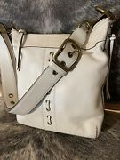 Coach 10399 Laced Distressed White Leather Crossbody Shoulder Duffle Handbag