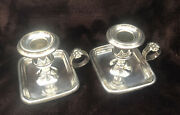Antique Pair Fraget Warszawie Andlsquo Warsaw Andlsquo Galw Silver Plate Candle Stick Holders