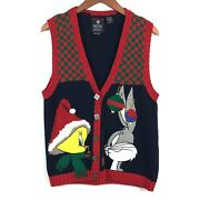 Looney Tunes Vintage Christmas Sweater Vest M Blue Embroidered Cardigan 90s