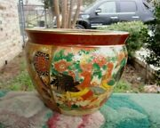 Vintage Chinese Style Porcelain Planter Rooster Chickens Farm Design