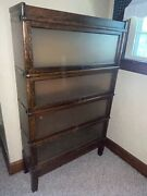Lawyers 4 Stacking Sectional Barrister Bookcase Book Shelf Wood W/ Frosted Glass