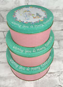 Set Of 3 Vintage Precious Moments Christmas Nesting Cookie Tin Canister Enesco