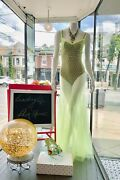 Nwt Couture Sheer Mesh Neon Green Long Maxi Gown Party Festival Dress S