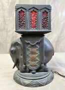 Antique Elephant Table Lamp Cast Metal Red Glass Germany