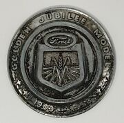 Vintage 1953 Ford Jubilee Naa Tractor Front Hood Chrome Emblem Farm Mancave