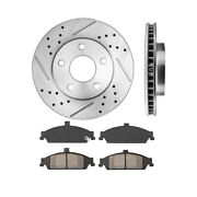 Front Drill And Slot Brake Rotors And Ceramic Brake Pads For Chevy Malibu Grand Am