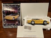 Franklin Mint 1986 Corvette Convertible Yellow Die Cast 124 Boxes And Papers