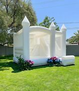 Slide Inflatable Bounce House Castle Kids Adults White Bouncer With Air Blower