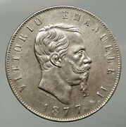 1877 Italy King Victor Emmanuel Ii Old Silver 5 Lire Antique Italian Coin I92925