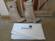 New Givenchy Shark Lock Wedge Beige Leather Ankle Boots Size 6.5 Made In Italy
