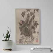 Kawanabe Kyosai - Monkey Hanging From Grapevines 1887 Poster Painting Print