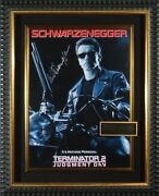 Authentic And039terminator 2and039 Hand Signed Schwarzenegger Autograph Movie Poster