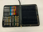 Real Black Leather Pen Case With 48 Assorted Fountain Pens Included All New