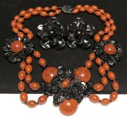 Miriam Haskell Set Rare Vintage Signed Black Orange Glass Necklace Earrings A54