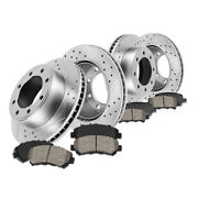 Front+rear Drill Slot Brake Rotors And Ceramic Pads For D_odge R_am 1500 2500 3500