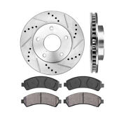 Front Drill And Slot Brake Rotors And Ceramic Pads For Chevy Gmc Oldsmobile Envoy
