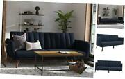 Brittany Sofa - Premium Upholstery And Wooden Legs - Navy Blue Futon