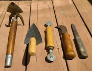 Lot Vintage Household Hand Tools Andndash Wood Handles Wrought Iron And Steel Andndash Antique