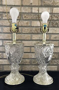 """Vintage Set Of 2 Hand Cut Lead Crystal Table Lamps 30"""" Parlor Desk Pin Wheel"""