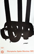 Orig. Pierre Soulages Lithograph Olympics Mid-century Modern Abstract Eames 1972