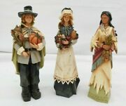 Carved Resin Faceless Primitive Thanksgiving Figures Pilgrim Couple And Indian Ga