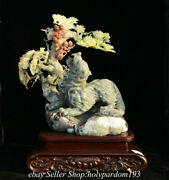 20 Chinese Natural Xiu Jade Carving Tree Beast Wolf Statue Sculpture