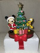 Disney Mickey Mouse Pluto Christmas Stocking Hanger With Box