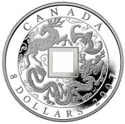 Canada 8 2007 Proof Fine Silver And039chinese Square Hole Coinand039 Box/coa