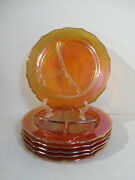 Plates Grill Carnival Glass Federal Marigold Normandie Bouquets Lattace Vtg 6pcs