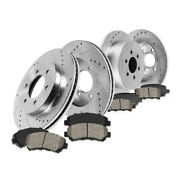 Front+rear Drill Slot Brake Rotors And Ceramic Pads For Hummer 2006-10 H3 2009 H3t