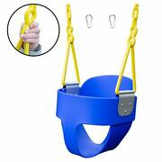 High Back Full Bucket Toddler Swing With Exclusive Chain And Triangle Dip Blue