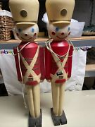 2 Vintage 1950and039s Lighted Christmas Nut Cracker Toy Soldier Blow Mold Hard 32andrdquo