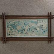 Used Suehiro Sake Brewery Printed Matter Wooden Frame Specifications Rare