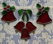 Stunning Holiday Christmas Stain Glass Suncatcher Lot Of 3 Red Bells Holly And Ivy