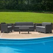 Modern 4pc Outdoor Faux Rattan Chair Loveseat Sofa And Table Set In Dark Gray