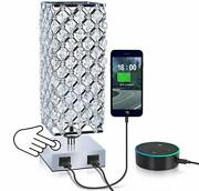 Square Modern Silver Crystal Table Desk Lamp With 2 Usb Charging Port | Touch
