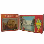 Vtg 1950s Built-rite Picture Puzzle Pair 2 Jigsaw Great White Throne Hoover Dam