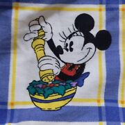 Used Very Rare Disney Fabric Minnie Cooking Pattern Multi-color Vintage Cute