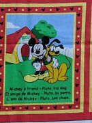 Used Very Rare Disney Fabric Mickey Picture Book Multi-color Vintage Cute