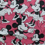 Used Very Rare Disney Fabric Minnie Mouse Pattern Multi-color Vintage Cute
