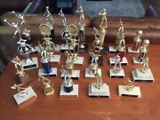 Large Lot Of 24 Vintage Trophies Marble Base Metal Wood 70s/90andrsquos Baseball Etc.