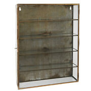 Brass Wall Hanging Storage Cabinet With 4 Shelves And Glass Door By Ib Laursen