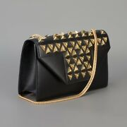 Saint Laurent Ysl Betty Clous Small Flap Bag In Black Leather With Gold Studs