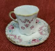 Noritake Rc Nippon Hand Painted Vintage Pre-1921 Chocolate Cup And Saucer Set Rose
