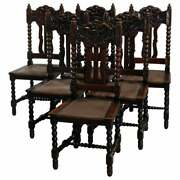 Antique Set Of Six Oak R J Horner School Carved North Wind Dining Chairs, C 1900