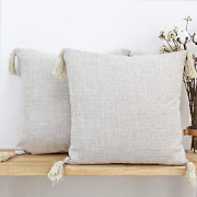 Jojusis Farmhouse Boho Throw Pillow Covers With Tassels Pack Of 2 18 X 18 Inch C