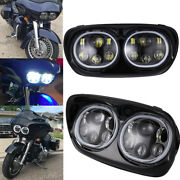 Motorcycle Led Dual Headlight Drl Angel Eye For Harley Road Glide 2004-2013 2005